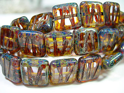 15 Crystal Travertine Etched Czech Square Window Beads 10mm
