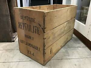 Vintage Wooden Neptune Neptulite Oil Wooden Crate Box Storage Queenstown Port Adelaide Area Preview
