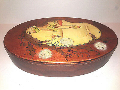 Vintage Dark Wood Oval Jewelry Storage Box Painted Lighthouse Sailboat Signed