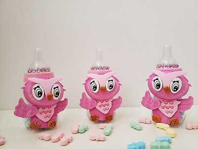 Baby Shower 12 Owl Favor Fillable Bottles Prizes Games Girl Pink Decor Recuerdos (Owls Baby Shower)