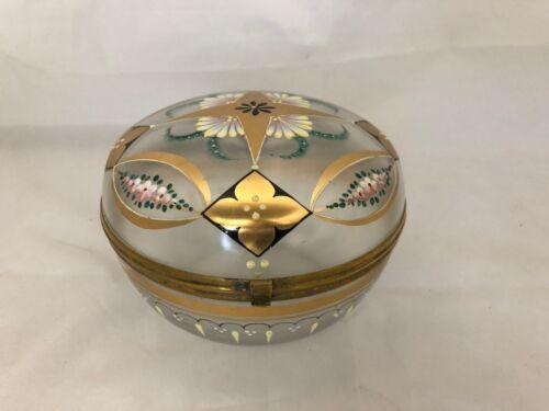 LARGE VINTAGE GLASS BOX DRESSER BOX GILT ENAMELLED HINGED WOW!