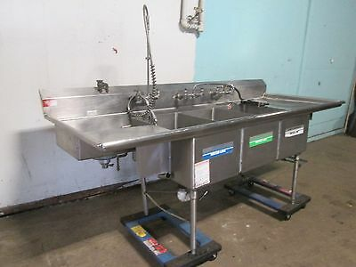 American Delphi Commercial 3 Compartment Sink Wsprayer Wand Chem Dispenser