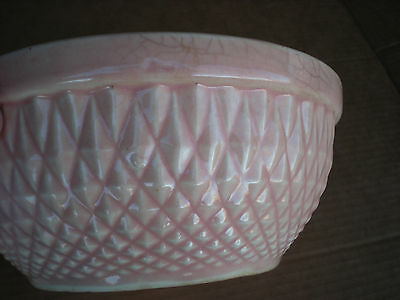 "Hull Pink Mixing Bowl Diamond Quilt Nuline Bak-Serve 6 1/2"" USA"