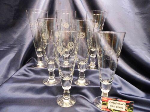 Vintage Etched Beer Pilsner Glass Set of Seven