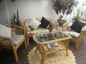 4 Pce Bamboo Cane Wicker Lounge Furniture Outdoor Chairs Table Bundall Gold Coast City Preview