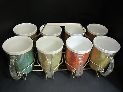 VTG Lot of 8 Raffiaware double wall insulated melamine mugs multi color carrier