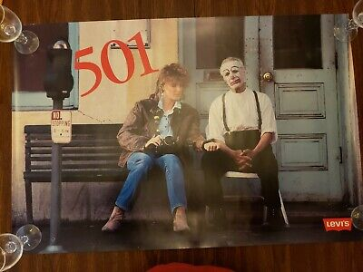 Near Mint Vintage 1986 Levis 501 NYC Sad Clown 34 x 22 Poster
