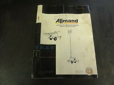 Allmand Night Lite Pro Series Operators And Parts Manual