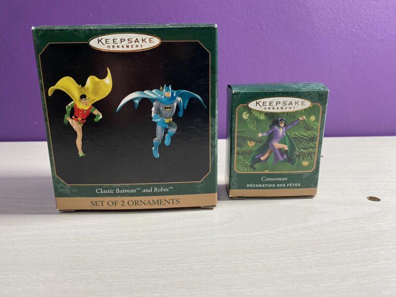 1999 Hallmark Classic Batman and Robin with Original Box And 2000 Catwomen Mini