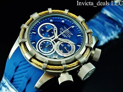 Invicta Men's 50mm BOLT Swiss Chronograph Blue Dial Silver Tone Gold Wire Watch