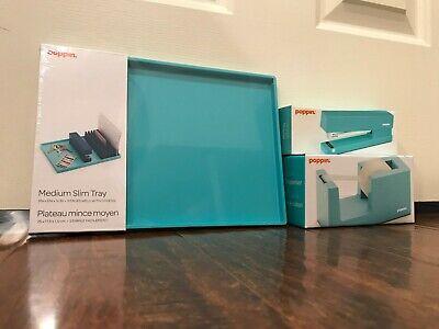 Set Of 3 Aqua Light Blue Poppin Office Desk Accessories --- New