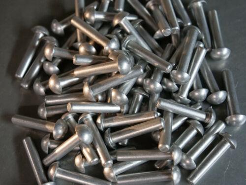 Solid Aluminum Rivet 1/4 Dia x 1 1/4 Length Buttonhead 10ea