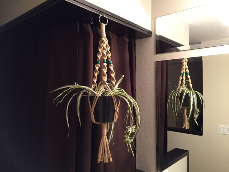 """Macrame Plant Hanger SAND 3 Red or Green Beads 30"""" 40"""" 50"""" 60"""" 70"""" Made in USA"""