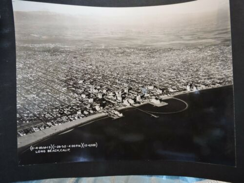 "Orig 1932 Aerial Photo 7x9.25"" Long Beach California US Army Official Photograph"