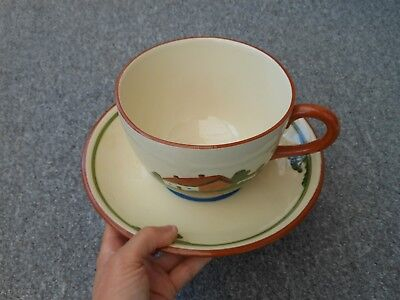 Dartmouth Pottery Devon Motto ware oversized large cup and saucer