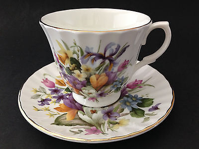 Gorgeous Bone China England Porcelain Footed Cup and Saucer Set Floral