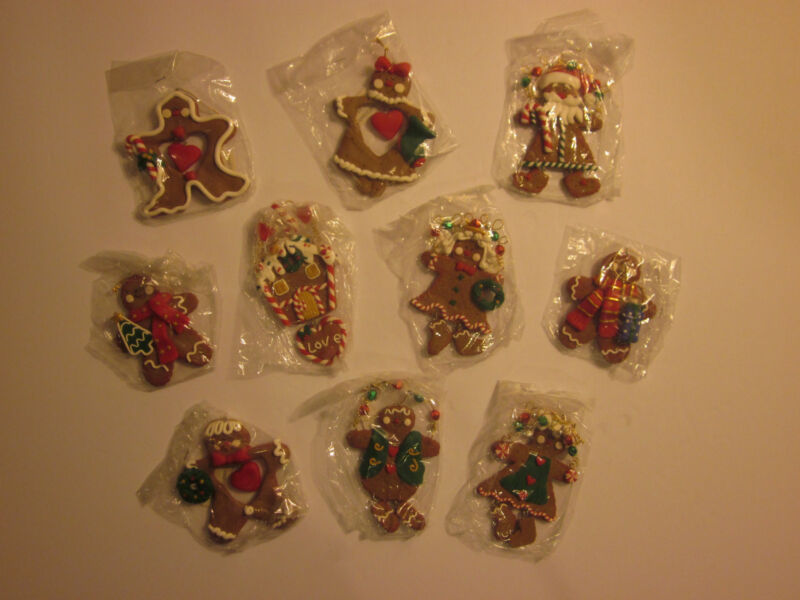 Gingerbread Cookie Family Christmas Ornament Set New 10 pc.