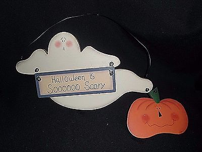Primitive Country Halloween GHOST PUMPKIN Farmhouse Wood Fall Sign