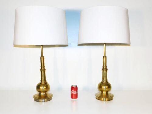 VINTAGE Pair STIFFEL Atomic Chinoiserie MCM Brass Lamps
