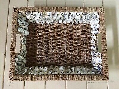 New Extra Large Farmhouse Beach Wicker Basket Tray Handmade Shell Seashells NWT ()