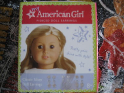 NEW American Girl CLASSIC SILVER Pierced EARRINGS for doll 6 Pair, Accessory