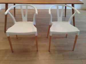 Set of two wishbone dining chairs for sale