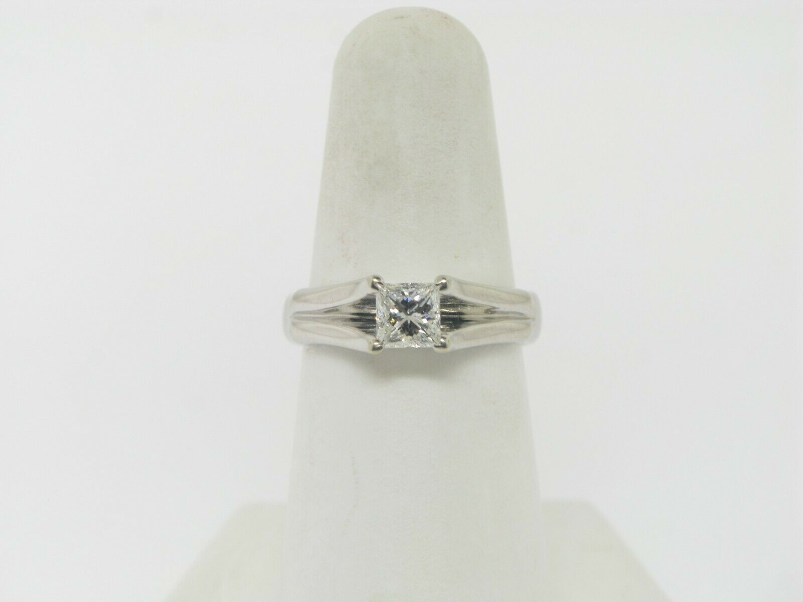18K White Gold .64 CT Princess Cut Engagement Ring (Internally Flawless) (GIA) 2