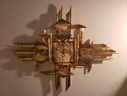 Wall Clock Mid Century Abstract Brutalist Metal Sculpture Torch Art Copper VTG