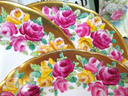 TUSCAN set of 11 salad plates painted cabbage pink rose & thick 22kt gold band
