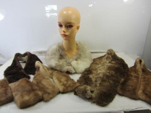 Vintage Lot of Fur Coat Collars and Cuffs-Mink & Other Furs