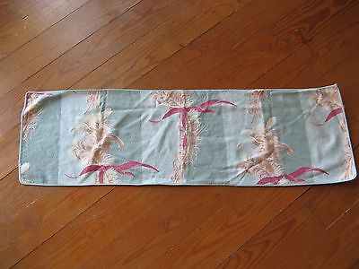 VINTAGE Barkcloth DRESSER SCARF TABLE RUNNER Doily Green/Mauve 44x13, used for sale  Cleveland