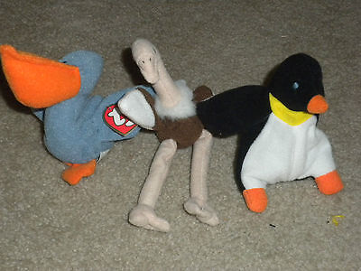 LOT OF 3 TY Teenie BEANIE BABY TOYS - Ostrich, Waddle Penguin, Scoop pelican, used for sale  Rio Linda