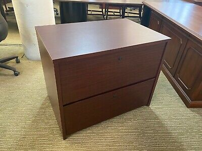 2dr 36w Lateral File Cabinet By National Office Furniture In Mahogany Laminate