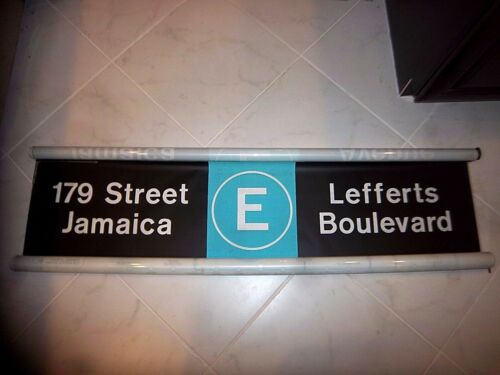 NY NYC SUBWAY ROLL SIGN COLLECTIBLE E TRAIN WORLD TRADE JAMAICA LEFFERTS BLVD