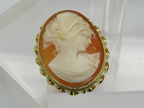 Solid 14k Yellow Gold Twist Oval Lady Cameo Bust Carved Necklace Pendant Brooch