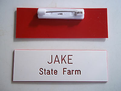 Custom JAKE from State Farm,  Name Badge Tag w/ Pin Halloween Costume white/red