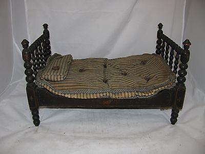 Antique Stenciled Folk Art Wooden Doll Bed