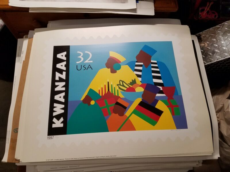 Synthia Saint James - Limited Edition Lithograph Kwanzaa 1997 Signed / numbered