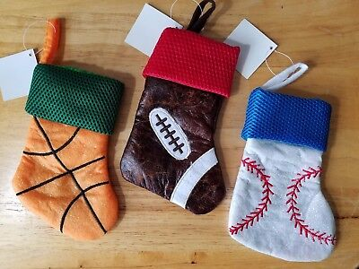 Sports Themed CHRISTMAS STOCKING with Cuff - Mini Size - Choose One! - Mini Christmas Stocking