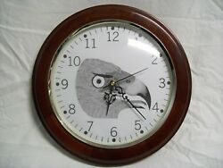 12 Wall Clock Wood Frame & Glass Face Eagle Design New Quartz Movement