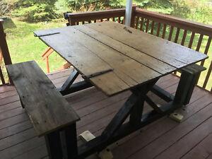 Unique Reclaimed Barnboard Picnic Table