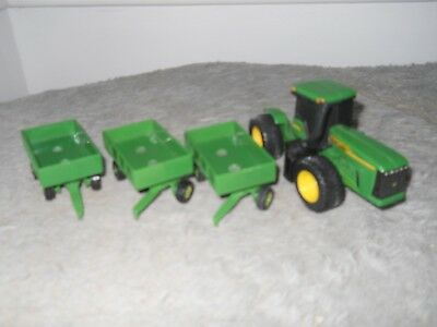 John Deere Ertl Articulated 4 Tractor W 3 2 Pull Wagons Toy