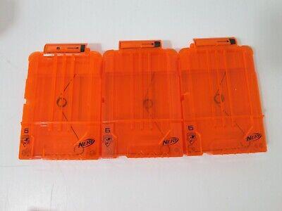 3 Nerf Dart Gun 6 Round Ammo Magazine Clip N-Strike Elite Clear Orange Lot of 3