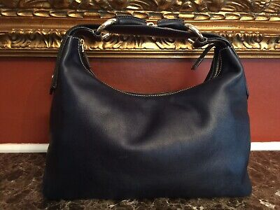 GUCCI NAVY LEATHER EQUESTRIAN HORSEBIT HOBO SHOULDER BAG ITALY