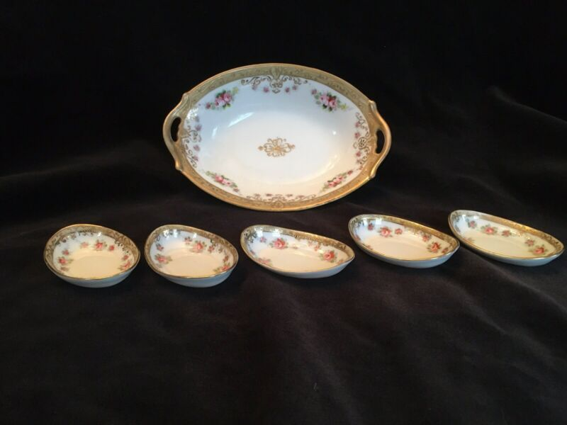 Antique Morimura hand painted Nippon 6 piece nut dish set