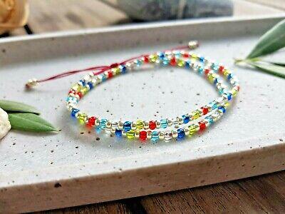 Happy Sommer Wickelarmband, 2-reihig, multicolor silber Damen Perlen Freundin