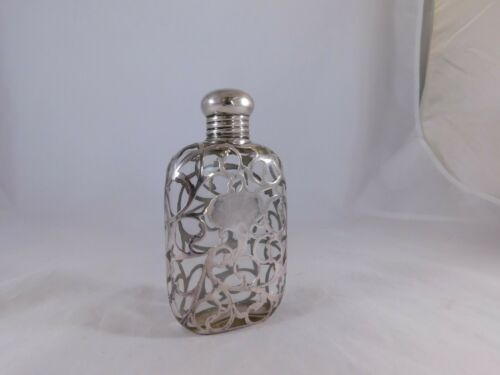 ANTIQUE ALVIN STERLING SILVER OVERLAY FLASK GLASS