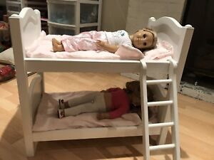 White Double bunk beds for American Girl Dolls