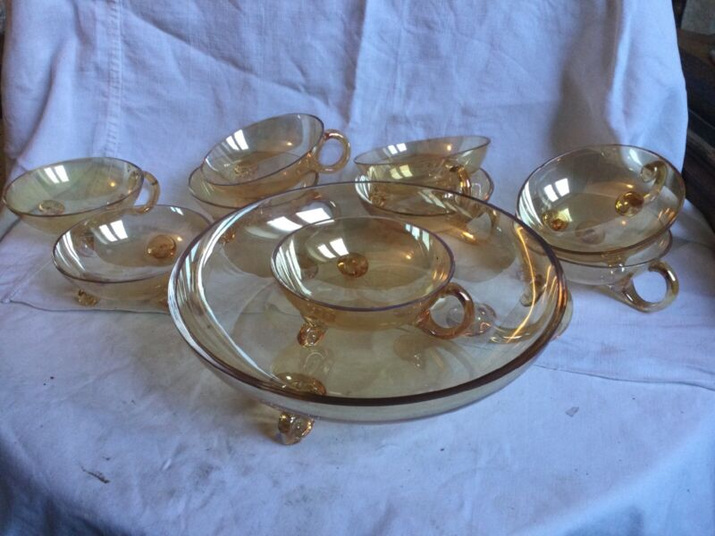 Vintage Marigold Amber Blown German Glass Punch Bowl 9 cup Att: Richard Sussmuth
