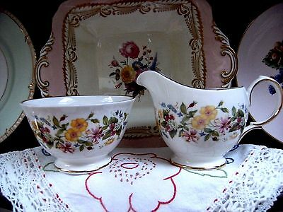 Vintage Colclough Hedgerow Flowers Floral China Milk Jug & Sugar Bowl